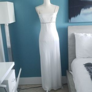 White evening dress with a soft silver shimmer